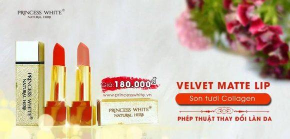 Son tươi collagen Velvet Matte princess white không chứa chì
