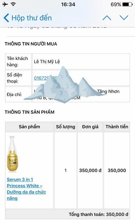 Đặt serum tại web khách nhớ điền đầy đủ thông tin giúp Hiền