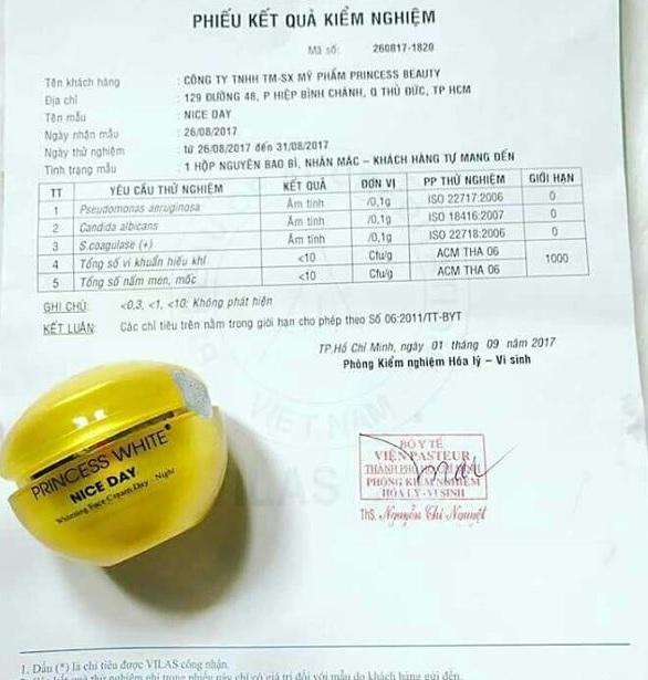 giấy chứng nhận kem nice day từ bộ y tế