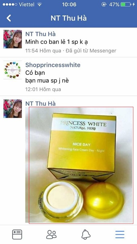 nhắn tin mua kem nice tại facebook