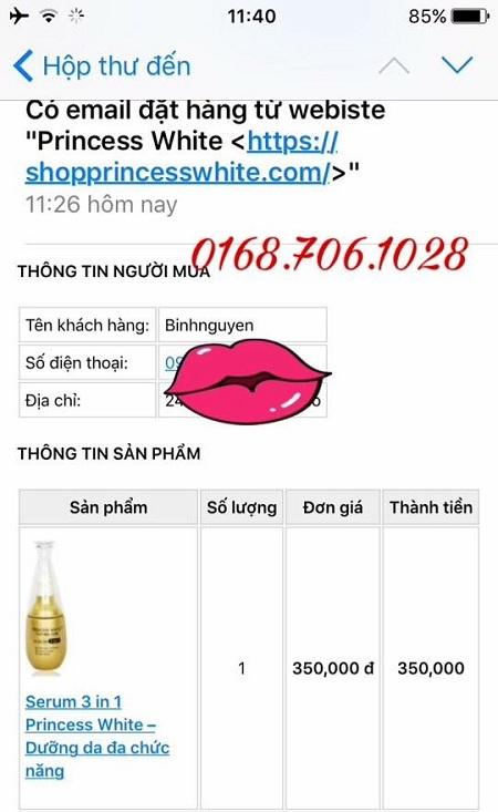 đặt hàng mỹ phẩm Princess White