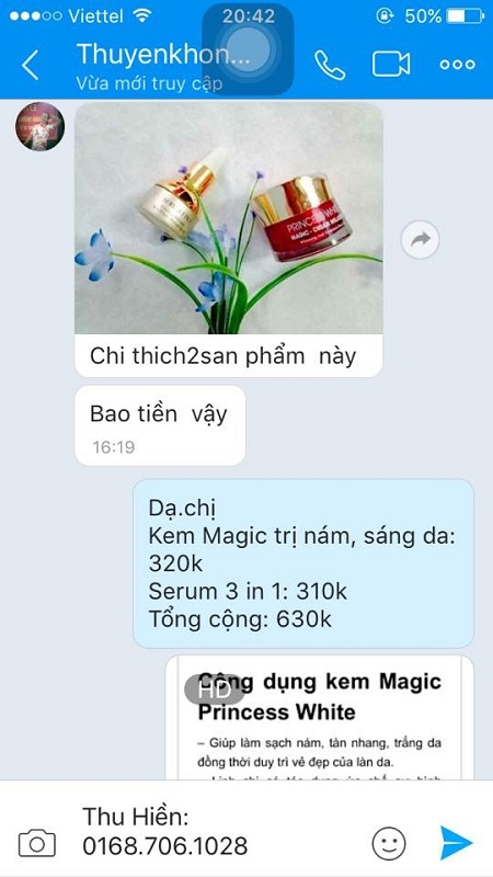 phản hồi kem magic princess white